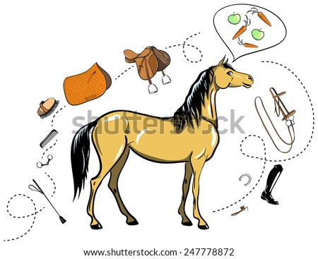 Horse and horseback riding tack - stock vector