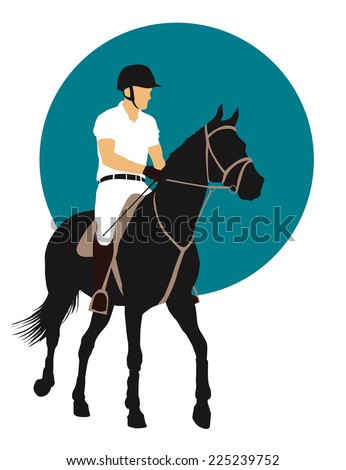 Horse and rider on blue background. vector EPS10 - stock vector