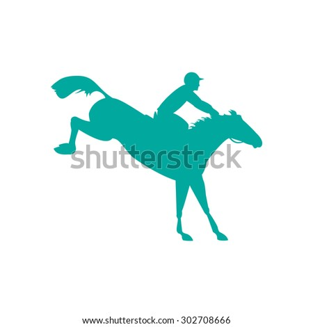 Horse and rider. Racing horse and jockey silhouette. Equestrian sport. Silhouette of racing horse with jockey on isolated background. Derby vector icon. Horse race