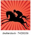 horse and rider silhouette - stock