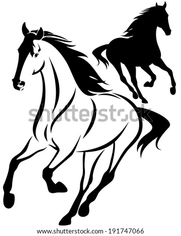 horse black and white outline and silhouette - running animal design - stock vector