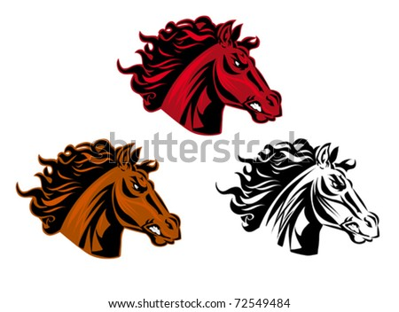 Horse cartoon tattoo for design isolated on white. Jpeg version also available in gallery - stock vector