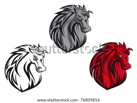 Horse cartoon tattoo for design isolated on white or logo template. Jpeg version also available in gallery - stock vector