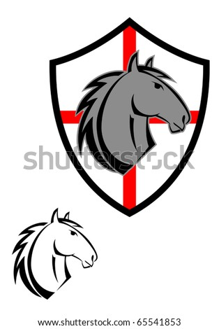 Horse cartoon tattoos symbol for design isolated on white - also as emblem. Jpeg version also available in gallery - stock vector