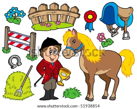 Horse collection on white background - vector illustration. - stock vector