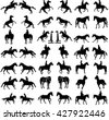 Horse collection - vector silhouette isolated on white background. Jockeys and horses. Horse at jumping.  - stock vector