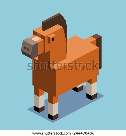 horse. 3d pixelate isometric vector - stock vector