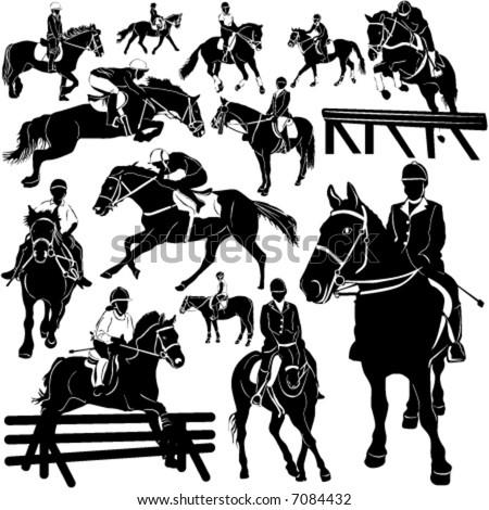 horse, equestrian vector (details) - stock vector