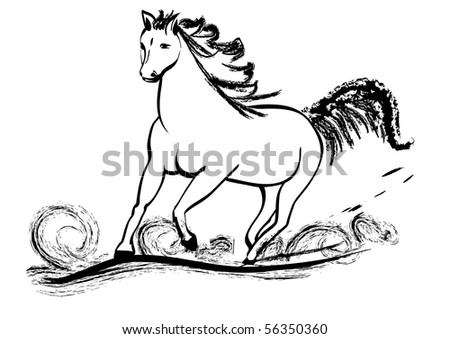 Horse galloping with flying mane - stock vector