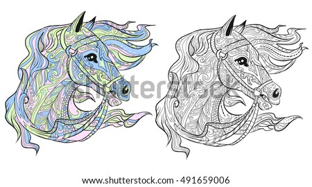 Horse Head Hand Drawn Doodle Animal For Adult Coloring Book With Sample