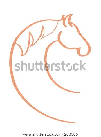 Horse Head in circular motion - stock vector