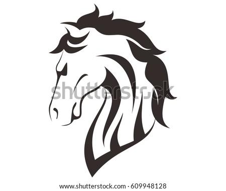 Horse head line art drawing illustration stock vector 609948128 shutterstock - Tete de cheval dessin ...