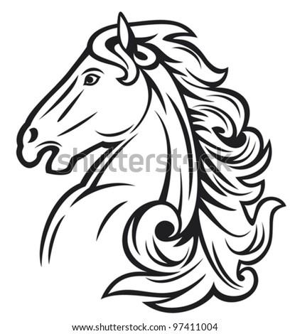 horse head (mustang) - stock vector