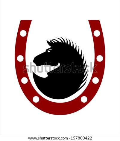 Horse. Horseshoe. Wild Black Horse  - stock vector