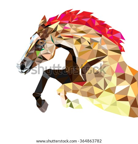 Horse in geometric pattern style. vector eps 10 - stock vector