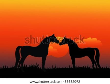horse in love - stock vector
