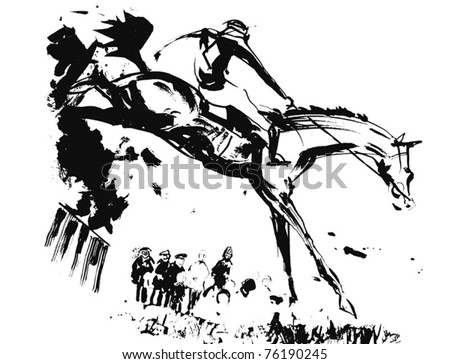Horse Jumping A Fence - stock vector
