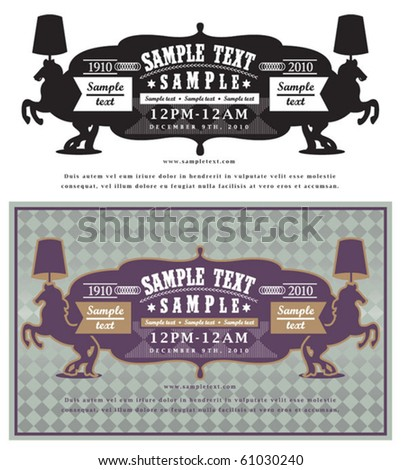 horse label vintage - stock vector