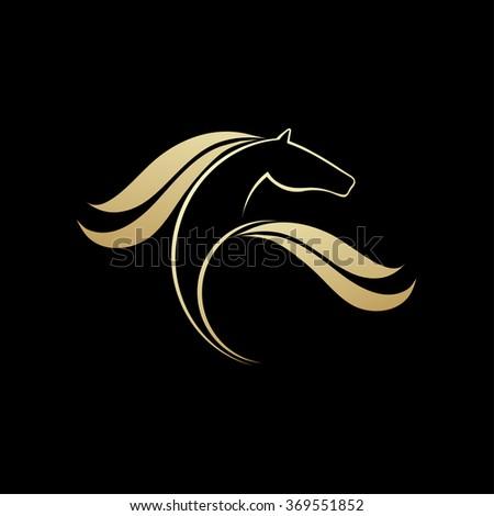 Horse logo element, vector icon, sport symbolic - stock vector