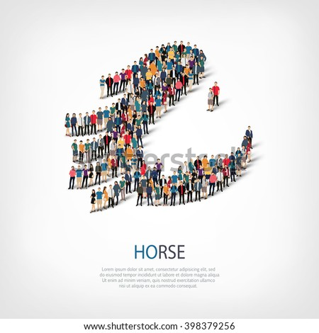horse  pet crowd symbol - stock vector