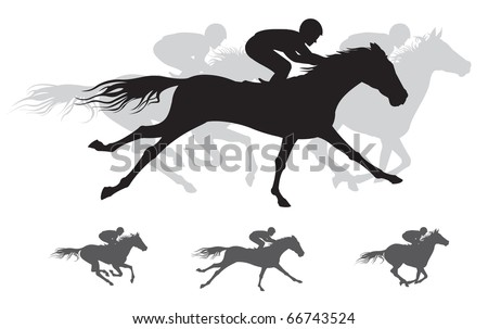 Horse race Silhouettes, - stock vector