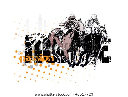 horse racing 1 - stock vector