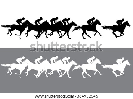 Horse Racing. Competition. Jockeys on horses galloping on the racetrack. Black and white silhouettes of riders on a light and dark background.