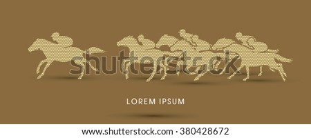 Horse racing ,Horse with jockey, designed using geometric pattern graphic vector. - stock vector