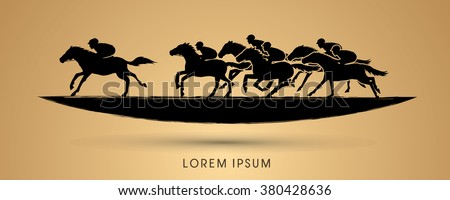 Horse racing ,Horse with jockey, designed using grunge brush graphic vector. - stock vector