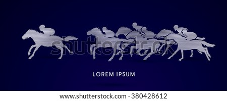 Horse racing ,Horse with jockey, designed using line brush graphic vector. - stock vector