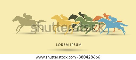 Horse racing ,Horse with jockey graphic vector. - stock vector