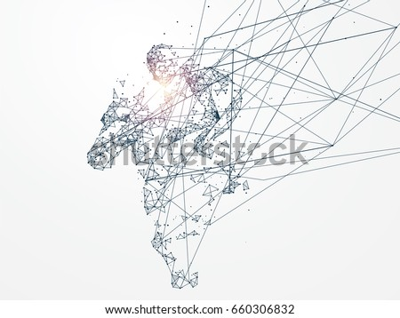 Horse racing,Network connection turned into,vector illustration,