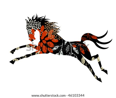 horse - remove clipping mask to reveal full patterns for other uses - stock vector