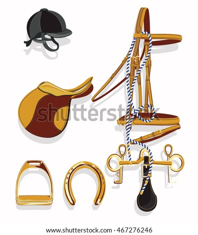 Horse riding equipment hand drawn vector illustration set