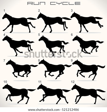 Horse Run Cycle. Hand drawn Illustration. Vector Icon Set