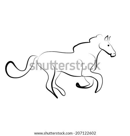 horse running - stock vector