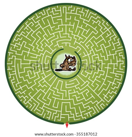 Horse's Round Maze Game (help the Horse escape the maze - Maze vector puzzle)
