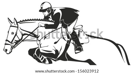 Horse Show jumping, Equestrian sport, horse and rider - stock vector