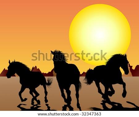 Horse silhouette on sunset background. Vector illustration. - stock vector
