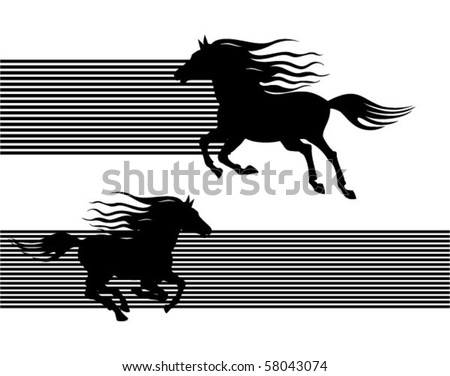 horse silhouettes - stock vector