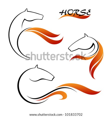 Horse symbol vector and red tongues of flame - stock vector