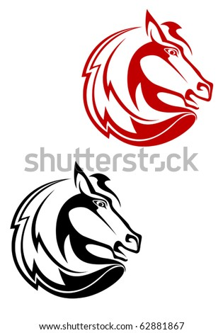 Horse tattoo symbol for design isolated on white - also as emblem or logo template - stock vector
