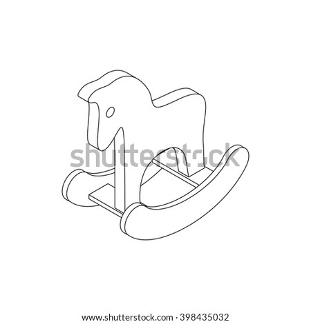 Horse toy icon, isometric 3d style - stock vector