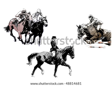 horse trio - stock vector