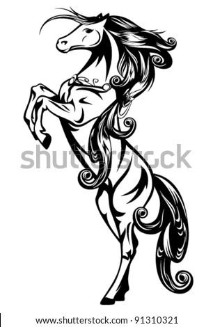 horse vector - beautiful art nouveau style fairy tale animal - stock vector