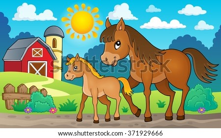 Horse with foal theme image 2 - eps10 vector illustration. - stock vector
