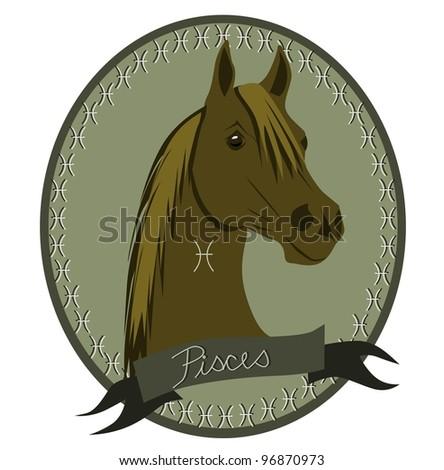 Horse zodiac - Pisces - stock vector