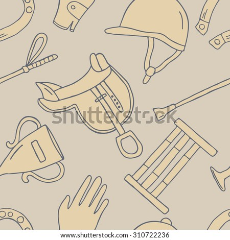 Horseback and riding essentials hand drawn seamless pattern. Doodle collection accessories for riding. Background vector - stock vector