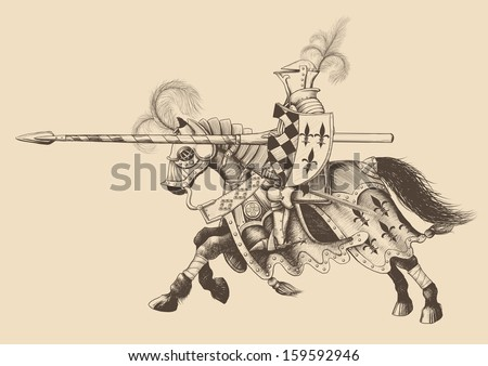 Horseback Knight of the tournament with a spear at the ready galloping towards the opponent. engraving - stock vector