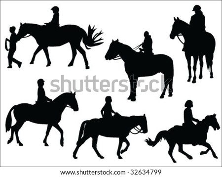 horseback riding silhouettes collection vector